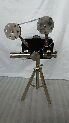 "Vintage Chrome Decorative Projector With black Tripod 17"" Home Decor"