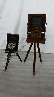 Pair of Two Vintage Black  & Brown Mini Projector Projector on Tripod