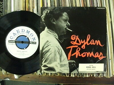"""DYLAN THOMAS E.P.""""READING FERN HILL"""".1960s CAEDMON LABEL+PICTURE COVER.EXCELLENT"""