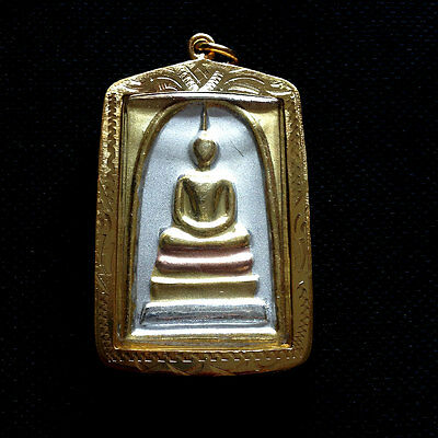 Buddha Thai Amulet Phra Somdej Pendant 3 Kings Protect Power Charm Luck Rich N05