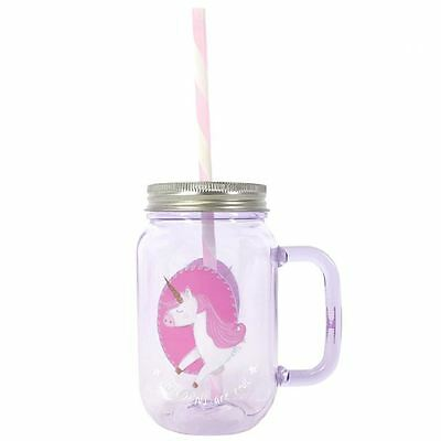 Unicorn Lilac Jar Pink Mug Cup Ethically Sourced Gift Boxed Plastic Straw