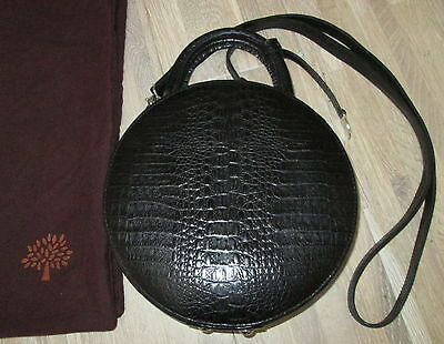 Authentic Vintage Mulberry Black Congo Leather Round Shoulder Hand Bag & Dustbag