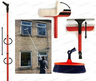 Window Cleaning Washing Set 3.4 Extension Pole Telescopic Squeegee & Brush Kit