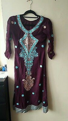 pakistani designer inspired chiffon suit embroidered purple small shalwar kamez