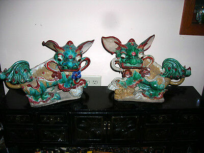 Xmas Sale! Pair Antique Chinese Ming Dynasty Chinese Roof Tile Foo Dogs 18X13X10