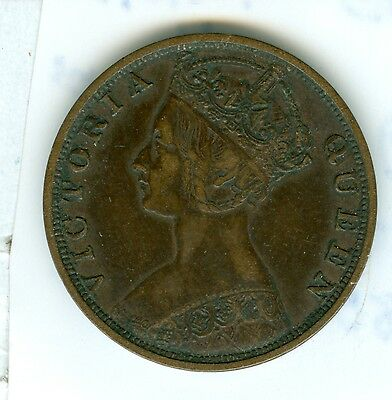 Hong Kong 1881 One Cent--Extra Fine