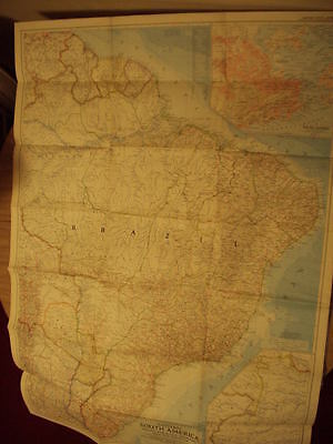 "Vintage 1955 Map of Eastern South America National Geographic 40"" x 29"""
