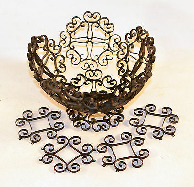 Vintage Wrought Iron Spanish Colonial Gothic Footed Fruit Basket Bowl Spain