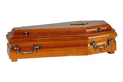 Beautiful Mahogany Wood Casket With Gold Cross & Handles Cremation Ashes Urn
