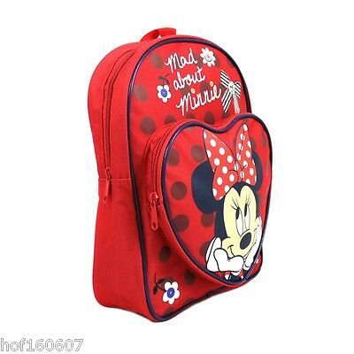 Disney Minnie Mouse MadAbout Minnie Character Backpack Girls School Bag Free P&P