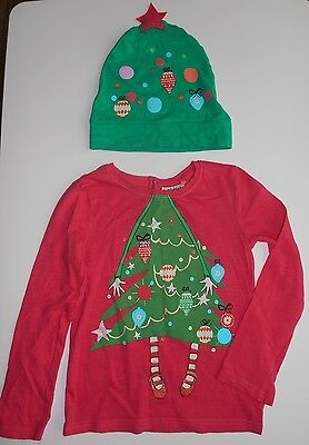 Next girls Christmas outfit age 4-5, christmas tree top and hat