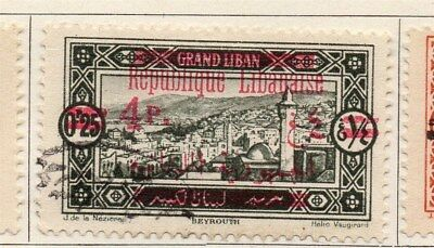 Great Lebanon 1928 Early Issue Fine Used 4p. Surcharged Optd 109528