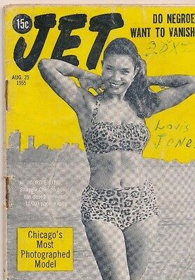 JET MAGAZINE 8/25/1955 Cordie King most beautiful model Negroes want to vanish?