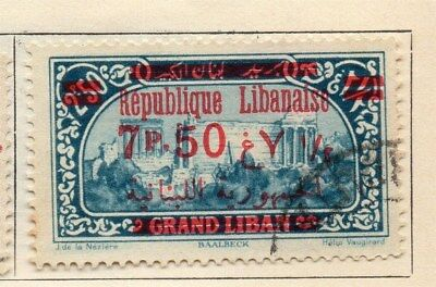 Great Lebanon 1928 Early Issue Fine Used 7.50p. Surcharged Optd 109559