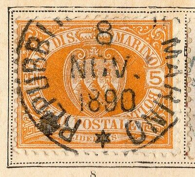 San Marino 1890 Early Issue Fine Used 5c. 109632