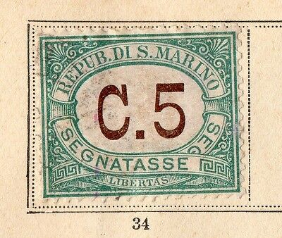San Marino 1897 Early Issue Fine Mint Hinged 5c. 109641