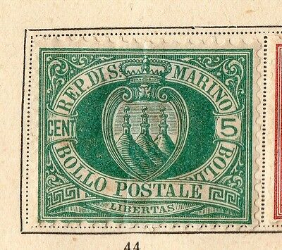 San Marino 1899 Early Issue Fine Mint Hinged 5c. 109644