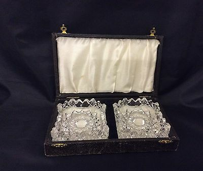 Vintage Pair Of Cut Glass Butter Dishes In Original Box Vgc