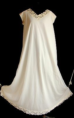 Ivory Chiffon Sheer Nightgown Levoys Double Lace Sweep Sz L Vintage