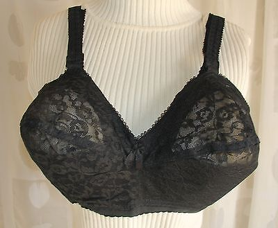 NOS Vtg Pin Up Burlesque Black Lace Bra Command Performance Magic Lift 34FF