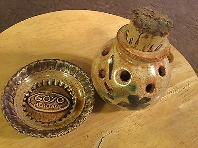 Pretty Vintage Pot Pouri Vase With Cork Stopper And Gozo Pin Dish