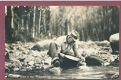 CO. Panning Gold in the rockies-Sanborn, mining postcard, RPPC