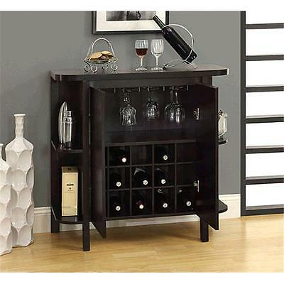 Monarch Specialties Cappuccino 36 in. Bar Unit With Bottle And Glass Storage