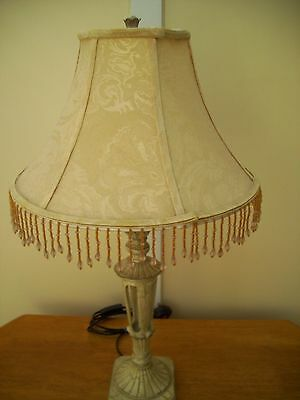 Shabby Chic Table Lamp cream and crackled gold beaded shade