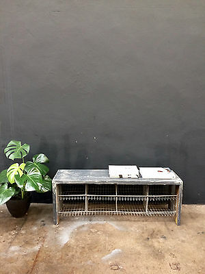 Vintage SCHOOL PAINTED PINE WIRE SHOE BENCH.retro INDUSTRIAL.shop.cafe DELIVERY