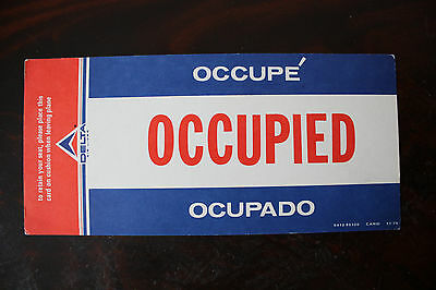 Occupied Occupe Ocupado Sign Delta Air Lines From 1976
