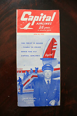 Timetable Capital Airlines 26 Years Of Dependable Service 1953