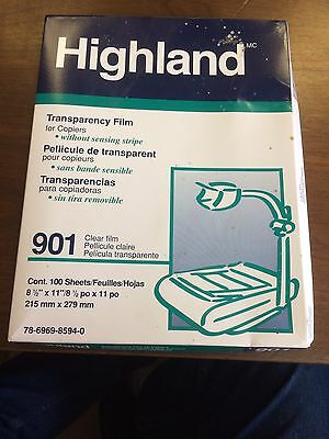 3M Highland 901 8.5 in x 11-inch Transparency Film PARTIAL Box 78 Sheets