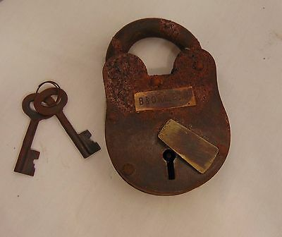 Cast Iron Skeleton Lock & Key Reproduction Antique Jailer Pirate Medieval  #555