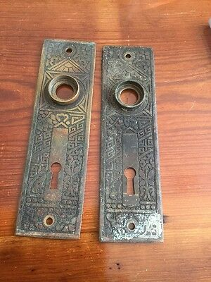 2 VTG Antique Old ORNATE  Cast BRASS Eastlake Skeleton Key Door Knob BACKPLATE