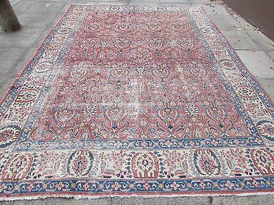 Old Shabby Chic Traditional Hand Made Persian Oriental Red Wool Rug 344x252cm