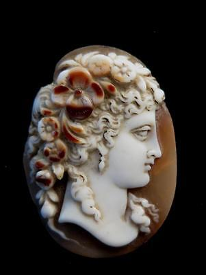 Antique Carved Shell Cameo Roman Goddess Flora Unmounted Signed Berthod