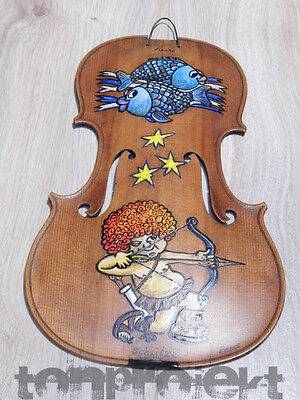 vintage solid spruce 4/4 violin top with fish + sagittarius ZODIAC OIL PAINTING