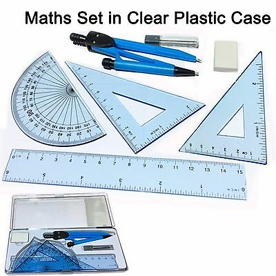 Maths set clear plastic case geometry ruler protector compass squares eraser kit