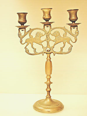 Antique Candelabra Solid Brass 3 Candle Holders Judaic Lions Of Judea