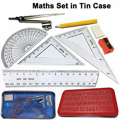 Maths set in Tin case geometry ruler protector compass squares stencil sharpener