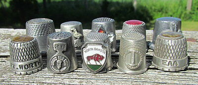 Lot of 10 pewter colored metal vintage thimbles airplane