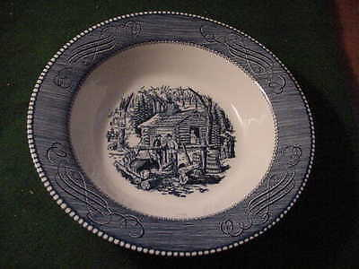 Currier and Ives 9 Inch Round Vegetable  Bowl, Royal China Co. , Blue