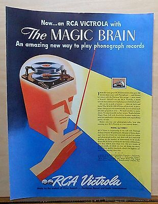1941 magazine ad for RCA - Magic Brain Victrola new way to play phono records