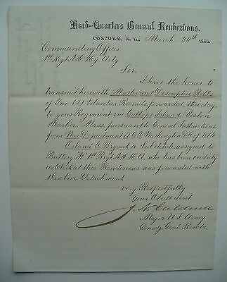 1865 Civil War Letter General Rendezvous Concord New Hampshire Headquarters