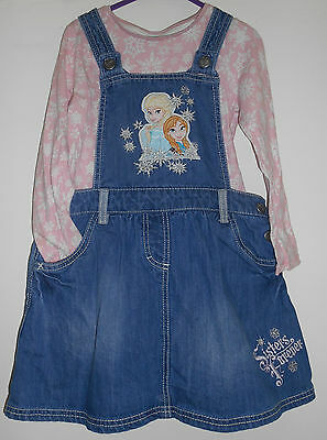 Age 5-6 frozen top and denim pinafore dress set
