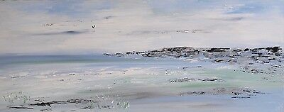 LARGE ORIGINAL MODERN ACRYLIC SILVER SEASCAPE ABSTRACT PAINTING 100x40cm canvas