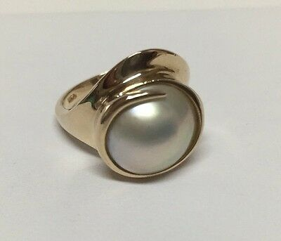 BEAUTIFUL LADIES 14K YELLOW GOLD MABE PEARL SOLITAIRE RING 7.2 Gram
