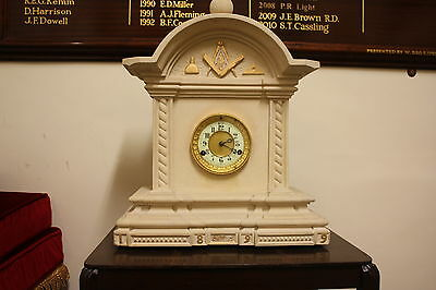 Large Antique Masonic Mantel Clock Carved Stone Dated 1899