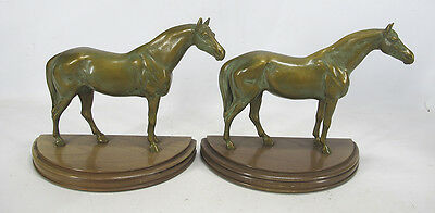 Pair of Bronzed Metal Figural Thoroughbred Stallion Horse Sculpture Bookends yqz