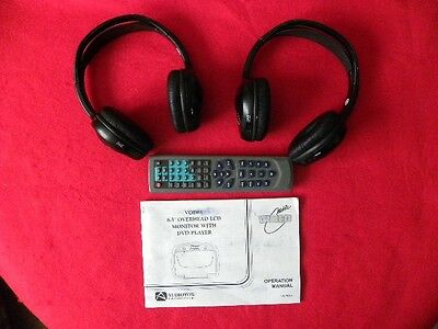2 Wireless Headphones & 1 TV DVD Remote for Audiovox Entertainment System